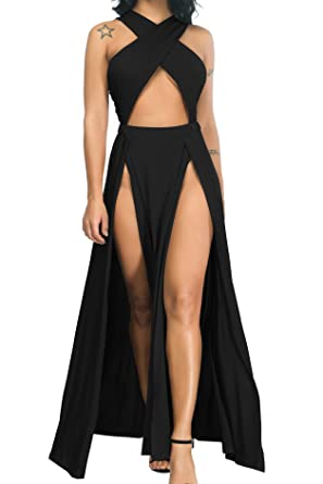 a5bf9d37f088 Limtery Women Sexy Hollow Out Halter Wrap Sleeveless Plain Pleated Slit  Casual Long Maxi Dress (
