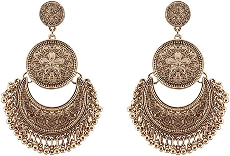 New Vintage Bronze Women Boho Bohemia Style Drop Shape Charm Metal Earrings Gift