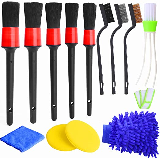 Dashboard,Interior Leather Exterior FANHAY Auto Detailing Brush Set for Cleaning Car Motorcycle Automotive Air Vents,Emblems,Seats,Cleaning Weels,Pack of 13