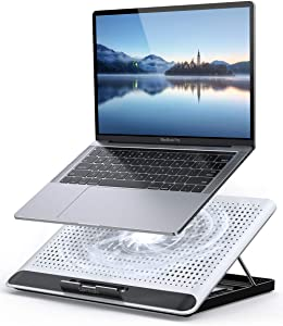 "Laptop Cooler, Lamicall Laptop Cooling Pad : Portable Height Adjustable Laptop Cooling Fan Stand Holder Riser Compatible with MacBook Air Pro Dell XPS HP Alienware Laptop Notebooks Up to 17"" - Silver"
