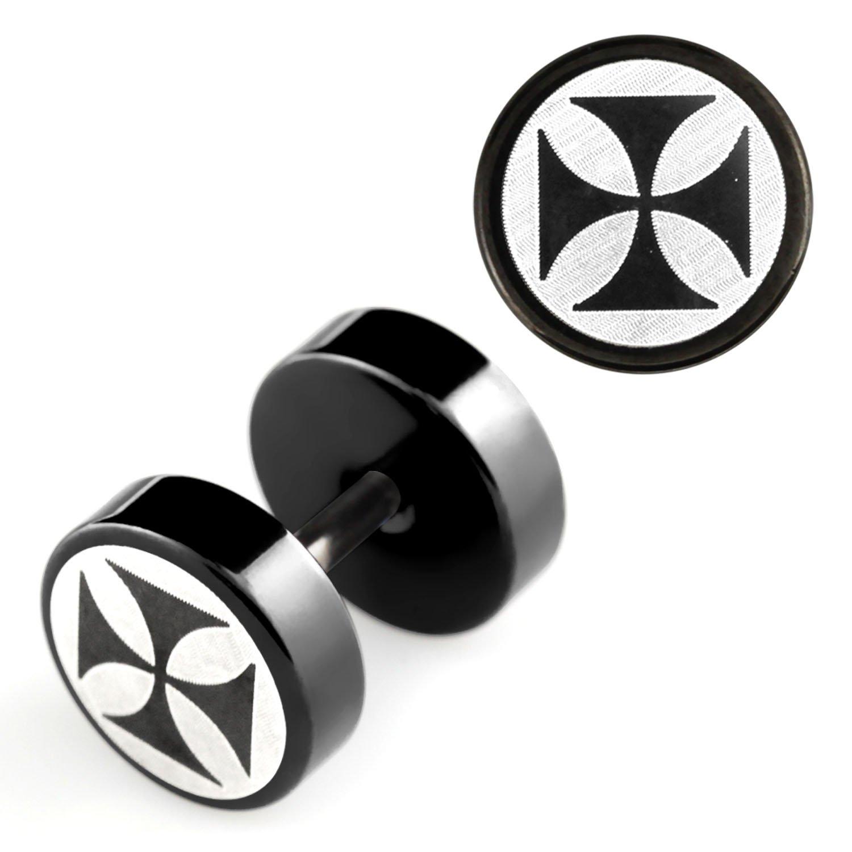 1 Paar Trend Fake Plug Edelstahl Neu Piercing Ohrstecker Ohrringe Ø 10mm