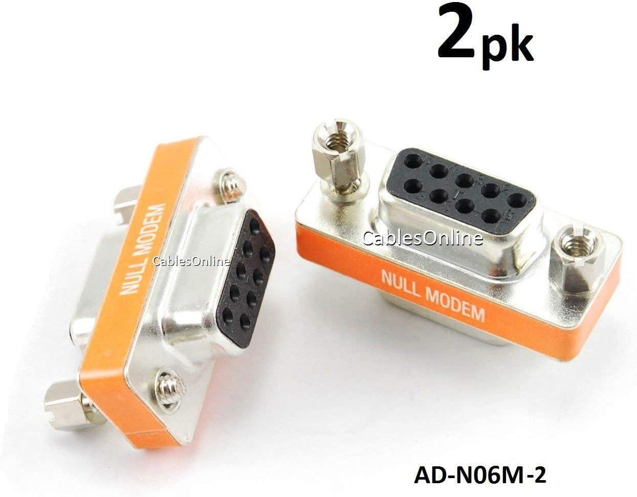 DB9 null modem adapter female to female slimline data transfer serial port adapter gold plated 2 Pack