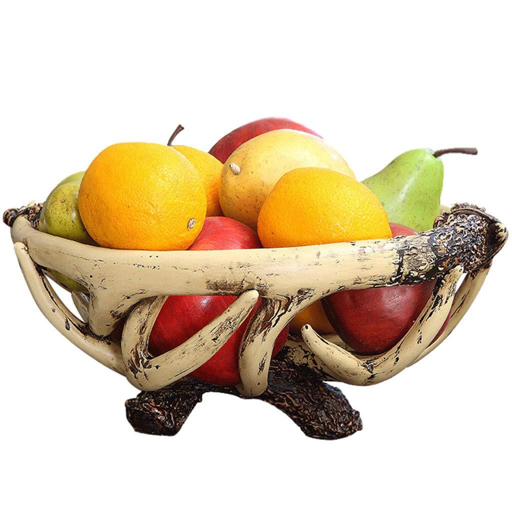 個性クリエイティブアントラーズフルーツトレイフルーツバスケットプレートフルーツ皿フルーツラックキッチンリビングルームの装飾 (色 : Brown)  Brown B07NQ2MR7Z