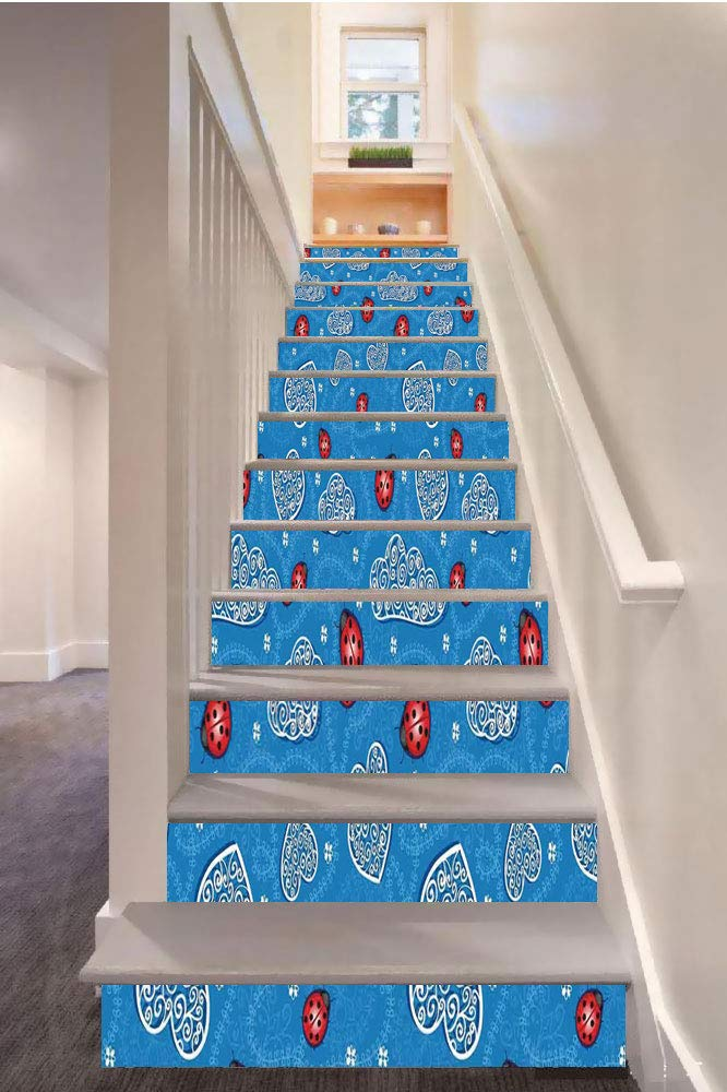 """SoSung Ladybugs 3D Stair Riser Stickers Removable Wall Murals Stickers,Ladybugs and Ornate Clouds Magic in The Air Pure Hope Creatures Art Design Print,for Home Decor 39.3""""x7""""x13PCS,Blue Red"""