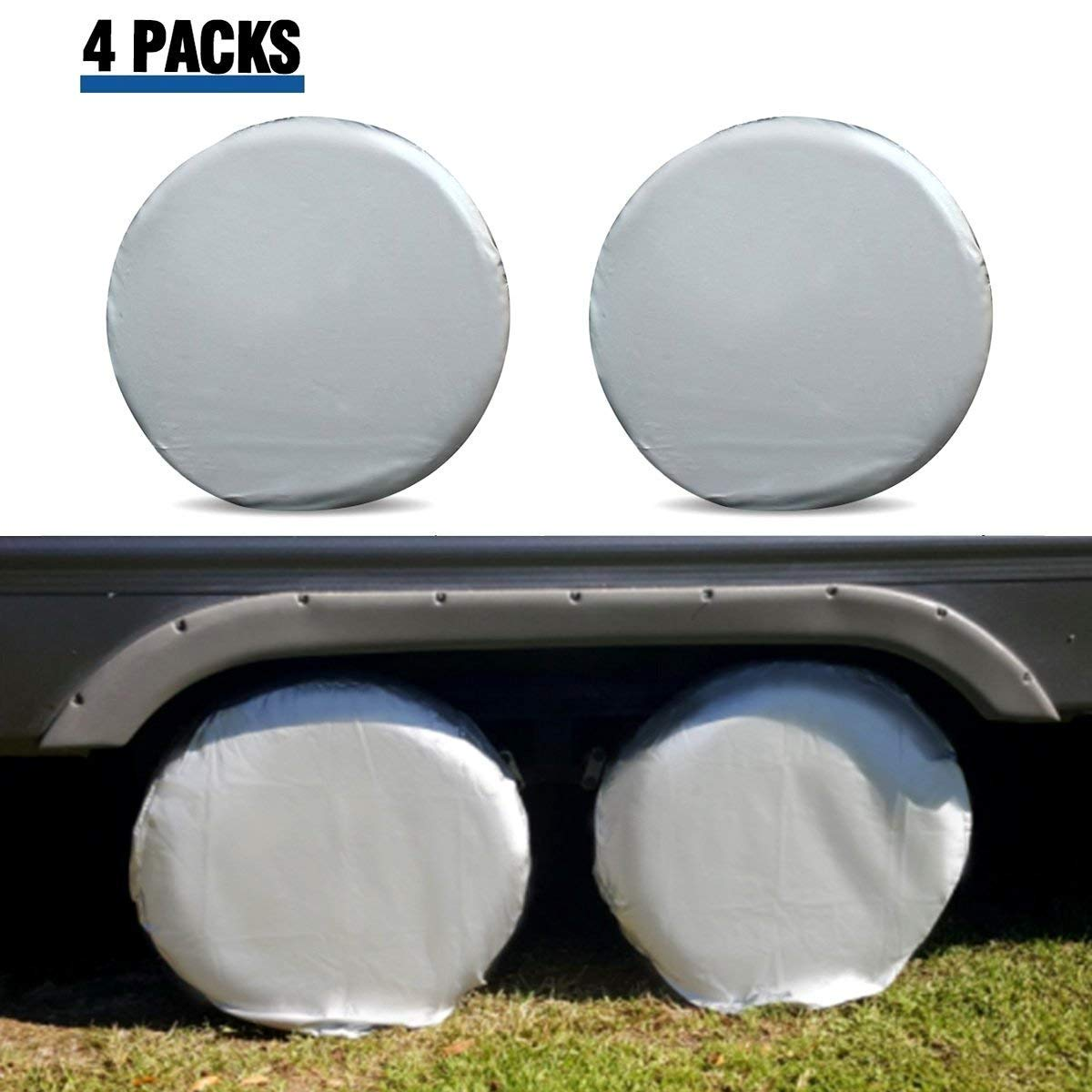 ELUTO Tire Covers for RV Wheel Set of 4 Motorhome Wheel Covers Waterproof Oxford Cotton Tire Protectors Tire Covers Fits 24'' to 27'' Tire Diameters by ELUTO