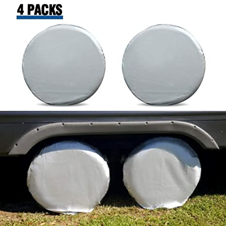 Amazon.com: Tire Covers for RV Wheel ELUTO Set of 4 Motorhome Wheel Covers Waterproof Oxford Cotton Tire Protectors Tire Covers Fits 27