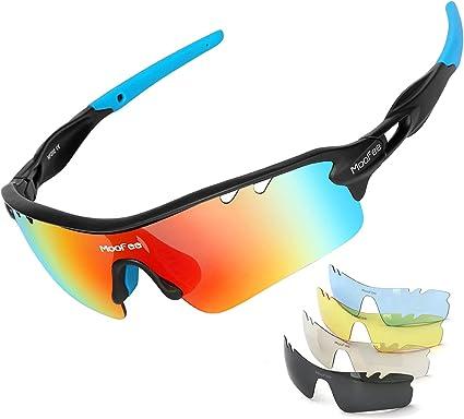 Amazon Com Moofee Gafas De Sol Deportivas Para Hombre Y Mujer Con 5 Lentes Intercambiables Para Correr Pesca Béisbol Golf Sports Outdoors