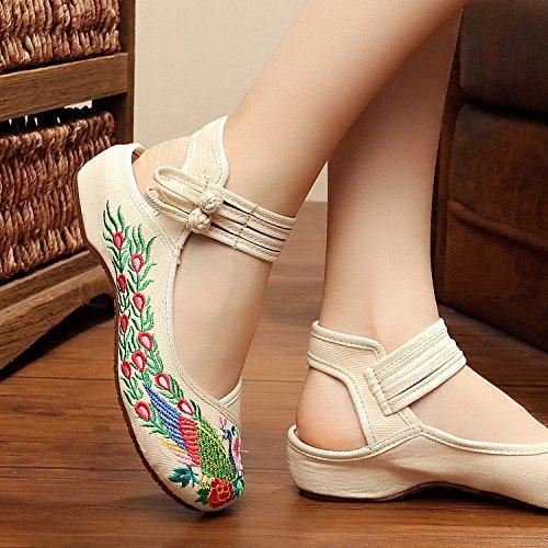 XHX Zapatos bordados, lenguado de tendón, estilo étnico, hembrashoes, moda, cómodo, zapatos de baile White