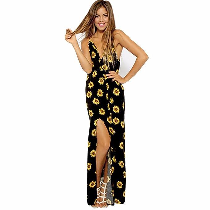 Damen Sommerkleider, BBring Frauen Mode Sunflower Drucken Langes Kleid V-Ausschnitt  Rückenfreies Strand Lange Maxikleid: Amazon.de: Bekleidung