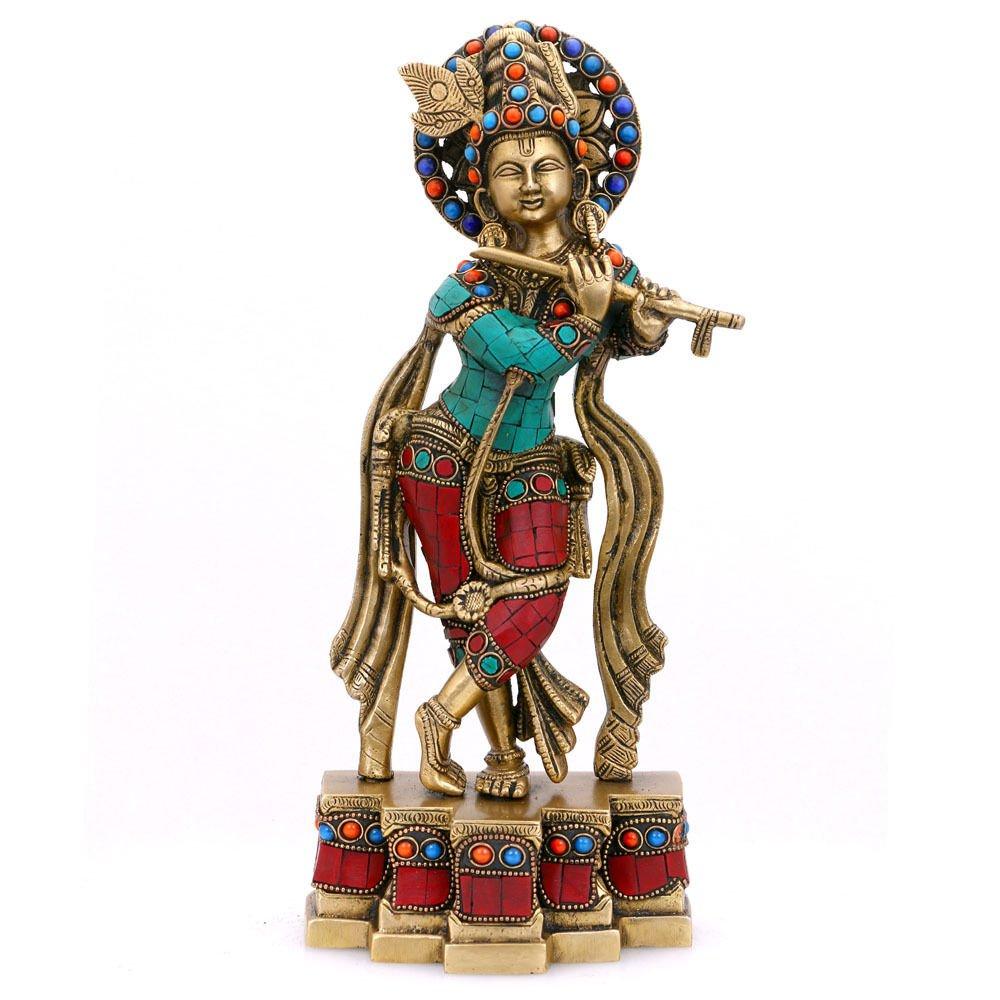 Collectible India Large Krishna Brass Idol Hindu God of Love