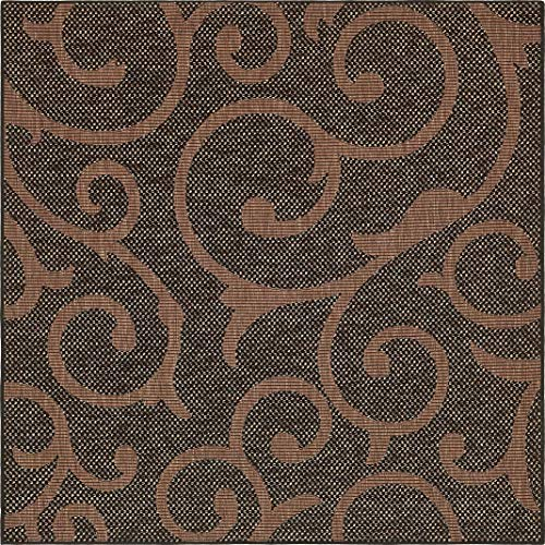 (Unique Loom Outdoor Botanical Collection Abstract Swirls Transitional Indoor and Outdoor Flatweave Chocolate Brown  Square Rug (6' 0 x 6' 0))
