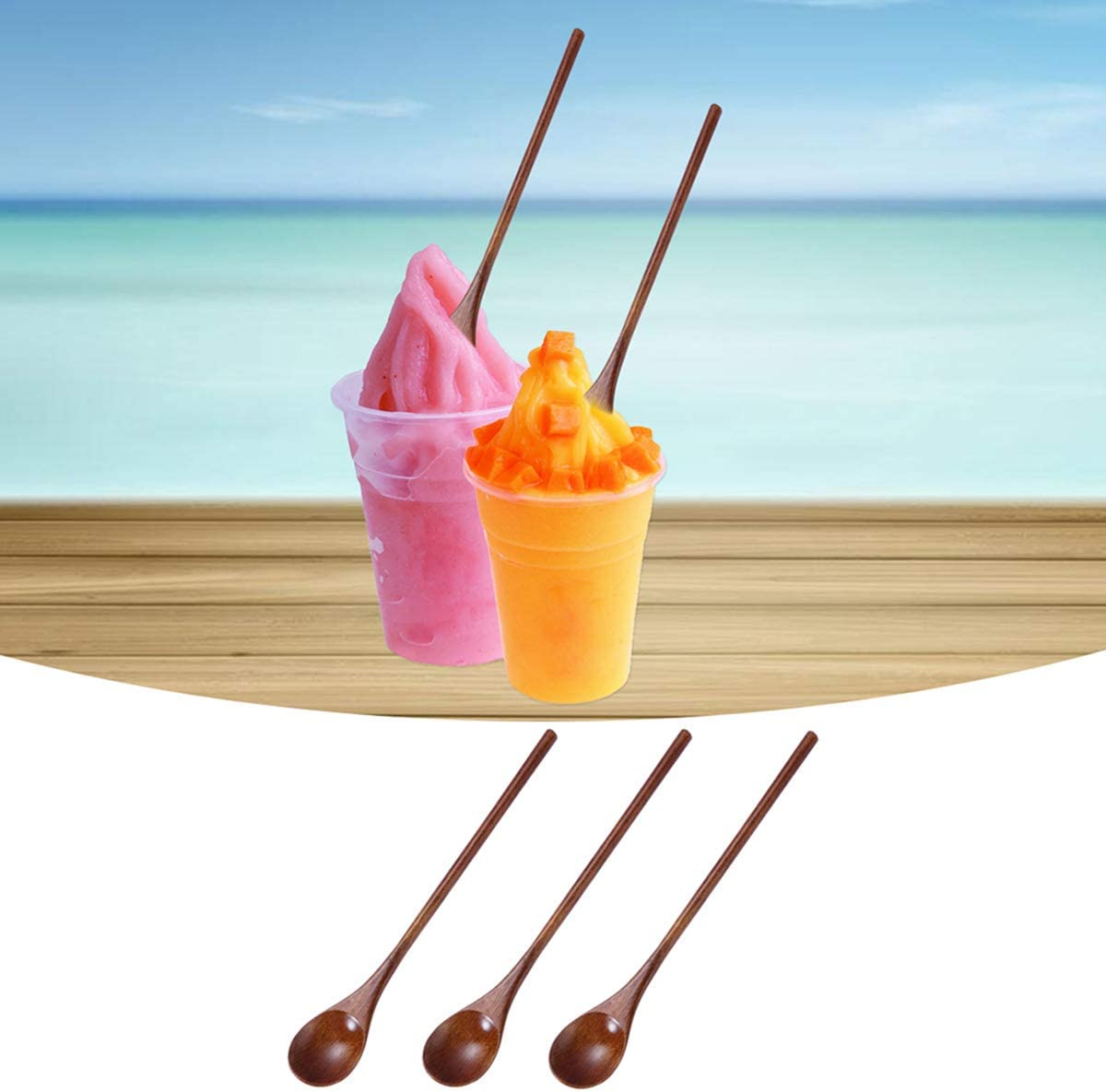 BESTONZON 3pcs Soup Spoons Eco Friendly Natural Wooden Coffee Tea Spoons Dolphin Stirring Spoons