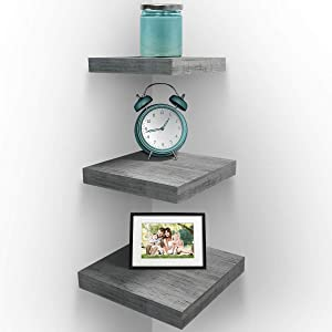 Sorbus Wall Mount Corner Shelves, Square Hanging Wall Shelves Decoration, Perfect Trophy Display, Photo Frames, Home Décor, Set of 3 (Grey White)