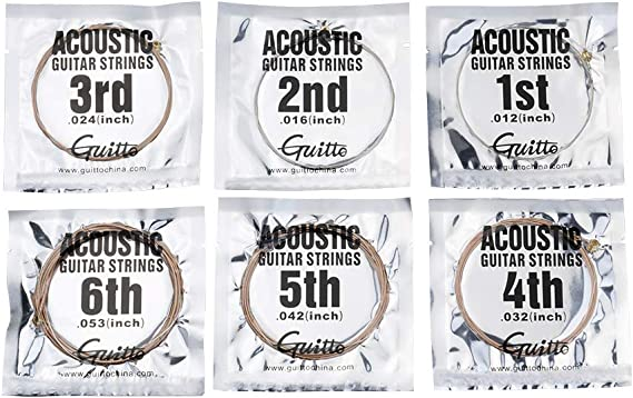 Guitto Strings for Guitar 6 String Set GSA-010 Guitar Strings Acoustic Light 10-48, Single Pack