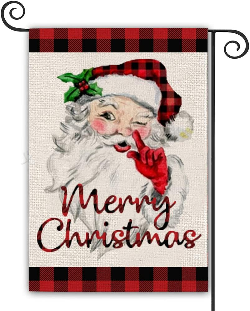 XSKJY Christmas Garden Flag Burlap Double Sided Santa Claus Small Garden Flag Farmhouse Yard Outdoor Decoration 12x18 Inches