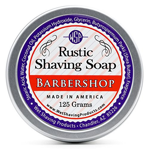 WSP Rustic Shaving Soap (Barbershop) 4.4 Oz in Tin Artisan Made in America Using Vegan Natural Ingredients (Shaving Shop)