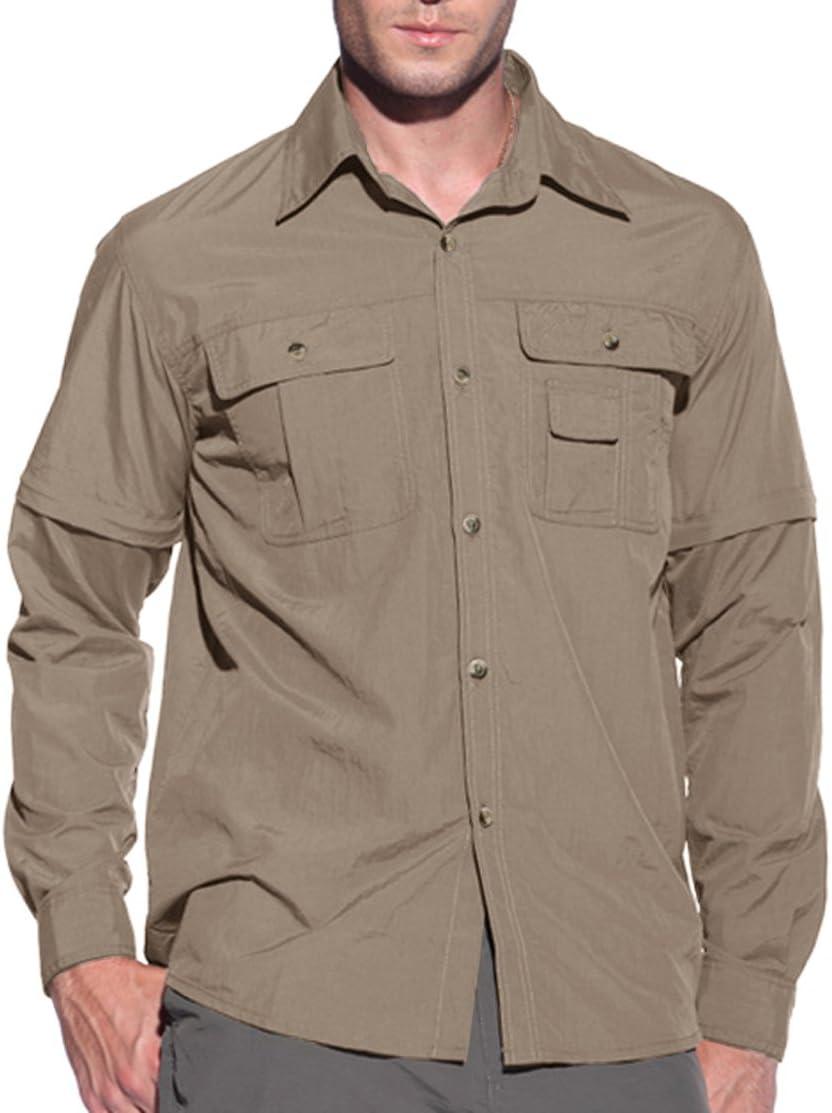 KEFITEVD Hombre de Secado rápido Protección UV Camisas con Mangas extraíbles Outdoor Work Camiseta - Camisa para Hombre