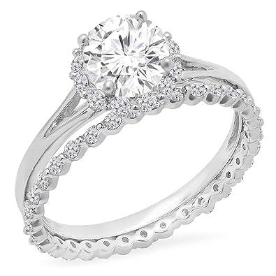 DazzlingRock Collection 14K White Gold Round Moissanite U0026 White Diamond  Ladies Halo Bridal Engagement Ring Set