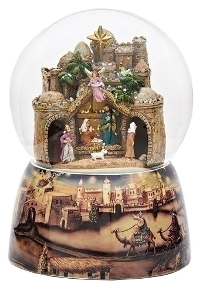 Nativity Town 100MM Musical Christmas Glitterdome Plays Tune O Little Town of Bethlehem Roman Inc