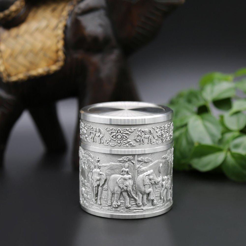 Oriental Pewter Pewter Tea Storage, Caddy -TPCS- Hand Carved Beautiful Embossed Pure Tin 97% Lead-Free Pewter Handmade in Thailand by Oriental Pewter