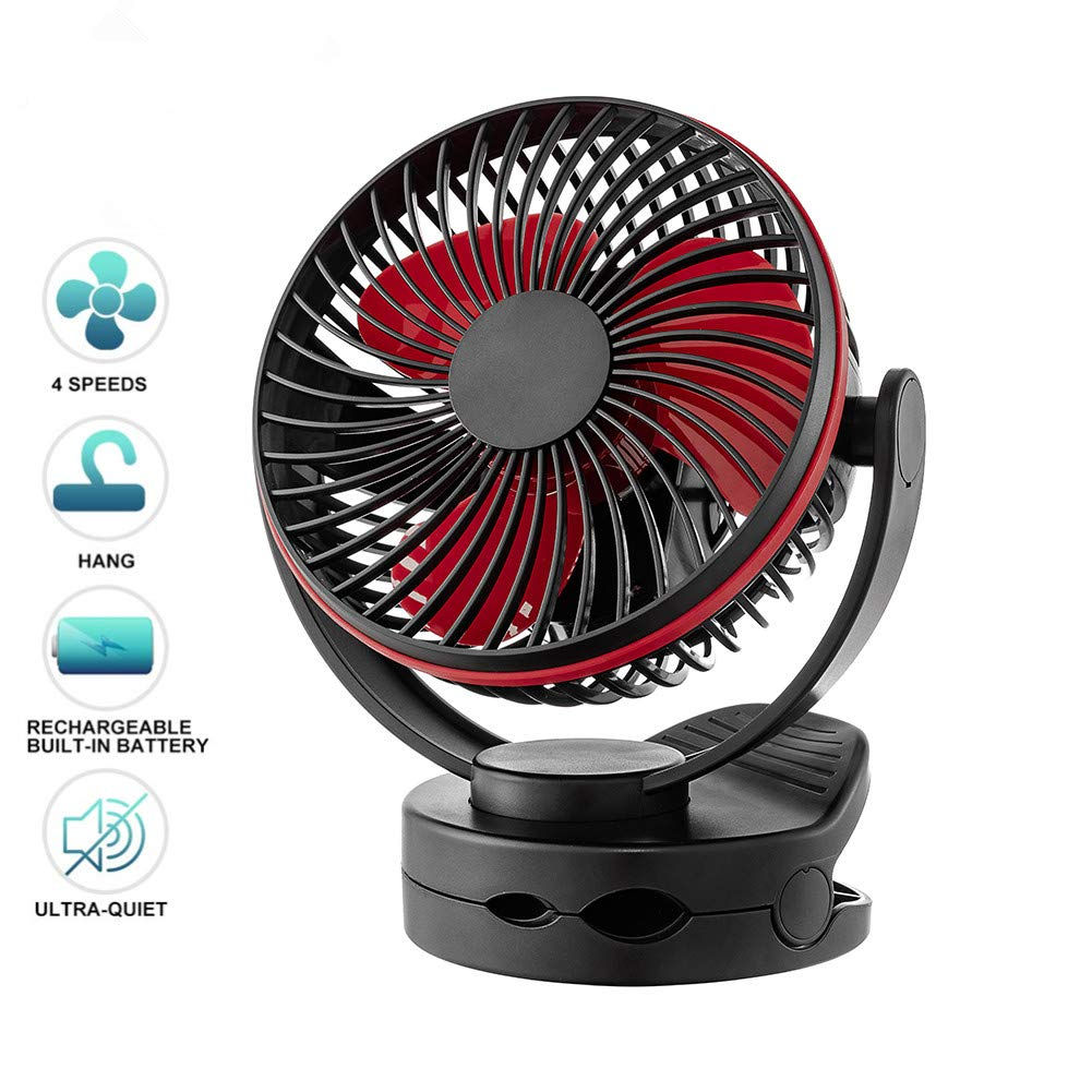 Battery Operated Clip on Fan, USB Rechargeable Portable Baby Stroller Fan with LED Light, 4 Speeds 360 Degree Rotation Quiet Personal Desk Fan, 3600mAh Battery for Home Office Travel Outdoor Black