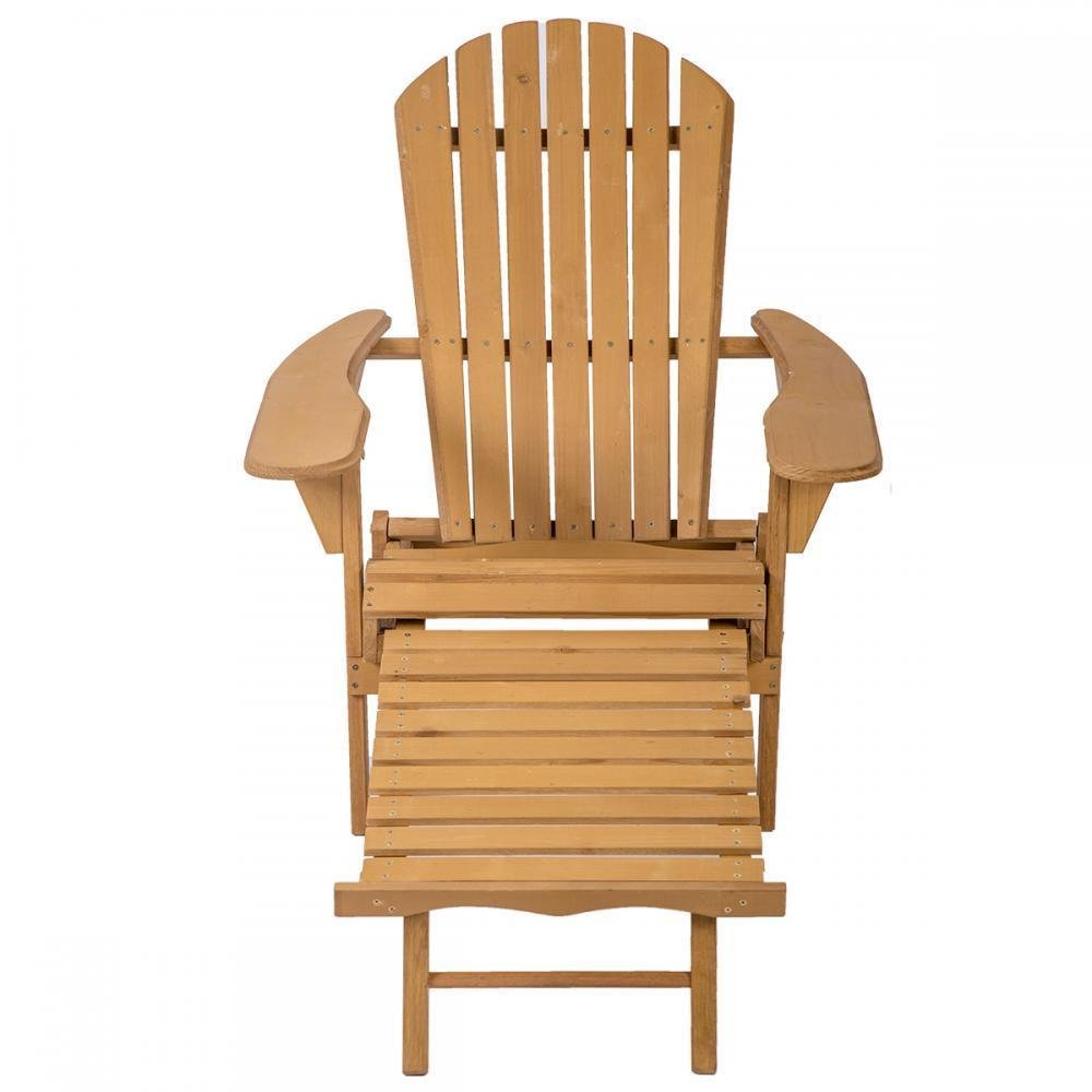 FDW Outdoor Wood Adirondack Chair Foldable w/Pull Out Ottoman Patio Furniture by FDW (Image #3)