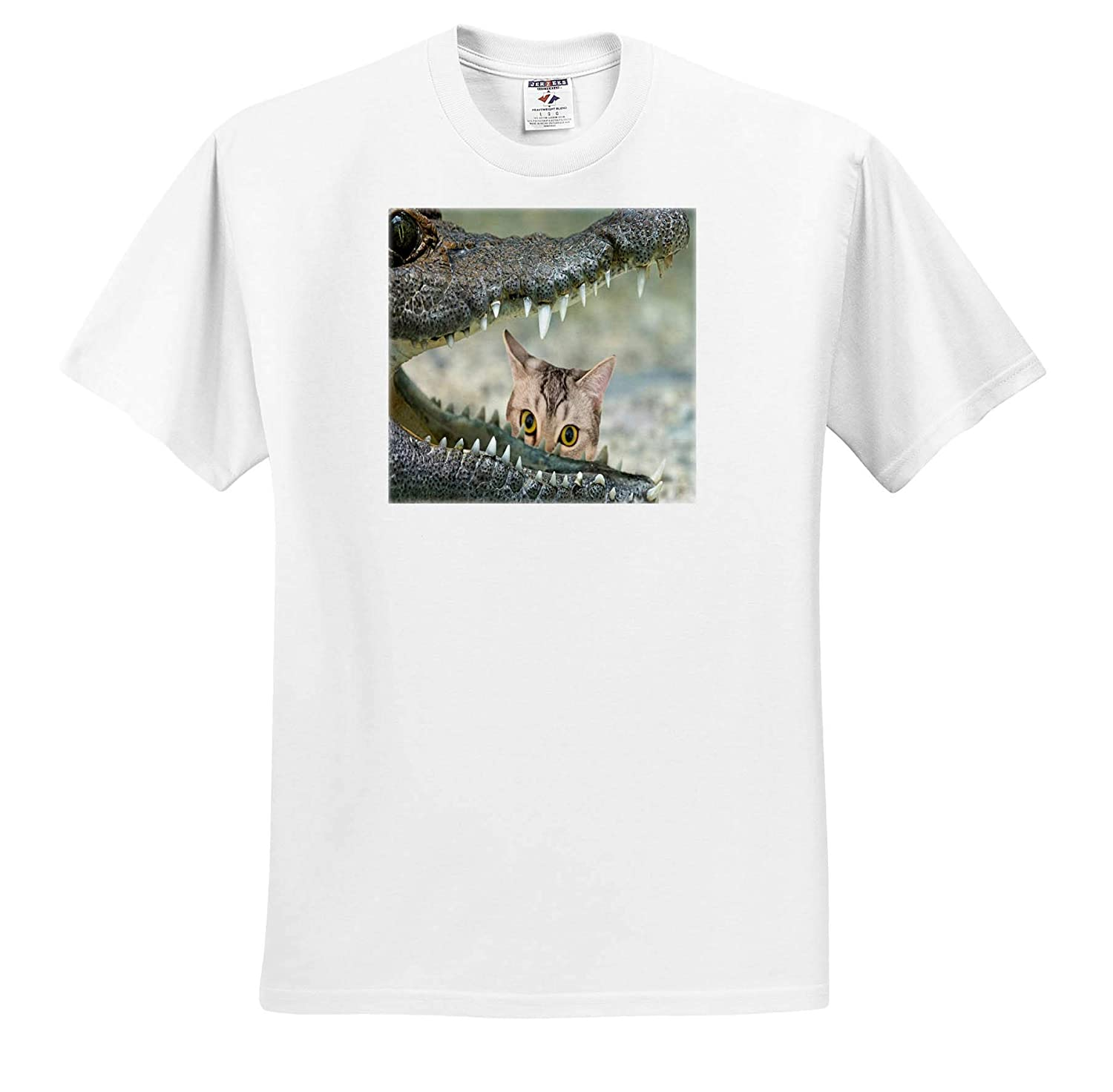 3dRose Lens Art by Florene Image of Kitten Stares at Open Crocodile Mouth T-Shirts Nature