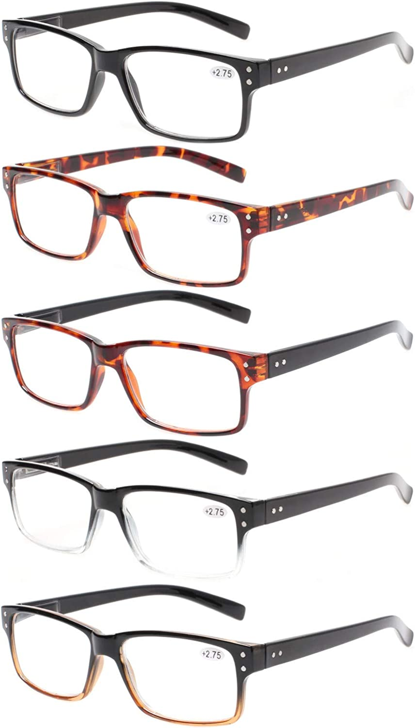 Reading Glasses 5 Pairs Quality Readers Spring Hinge Glasses for Reading for Men and Women