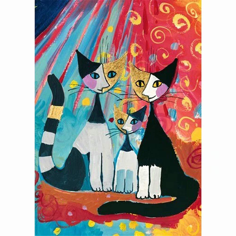 DIY 5D Diamond Painting by Number Kit Full Rhinestone Pasted DIY 15.7X19.7Inch Painting Rhinestone- Cartoon Cat -Frameless by LRahigh