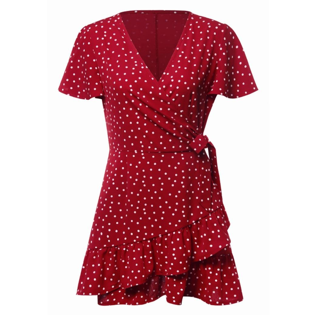 Jentouzz Polka Dot Dress, Women Summer V Neck Bow Ruffles Bohe Party Wrap Dress Mini Dress (L, Red) by Jentouzz (Image #1)