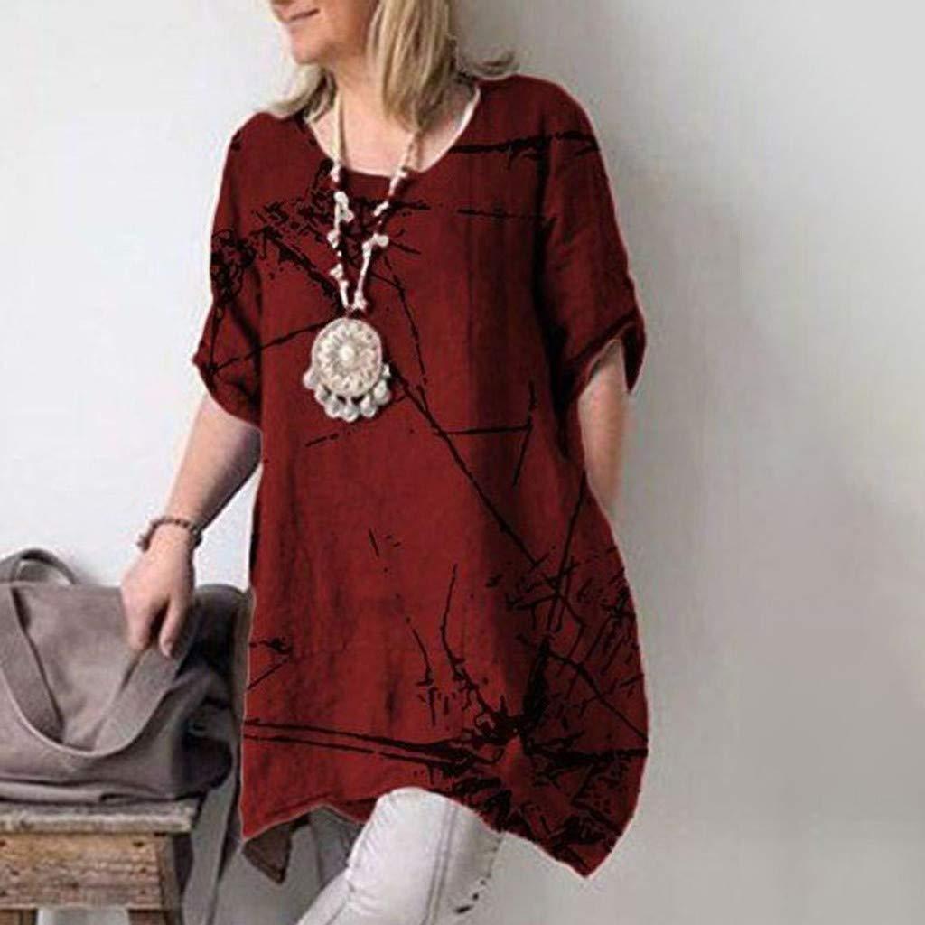 Honestyi Grande Taille T-Shirt Femme,Mode D/ét/é Nouvelle D/écontract/ée Tee Impression Col Rond Facile /à Assortir Tops Apparel
