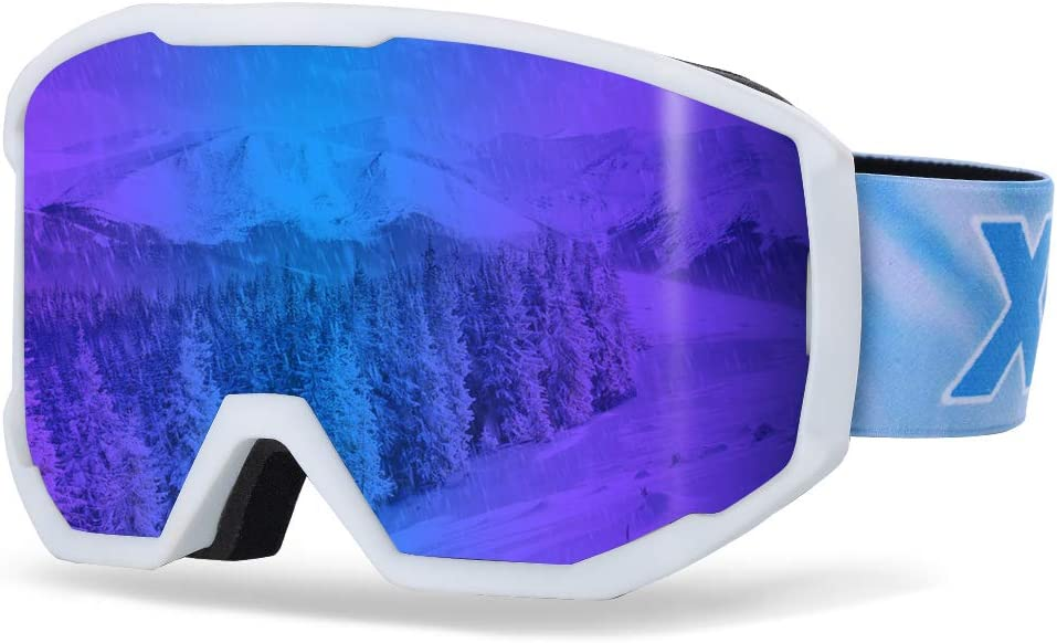 XR Ski Snowboard Goggles Anti-Fog UV Protection HD Cylinder Lens Over Glasses Non-Slip Strip Snow Goggles for Men Women