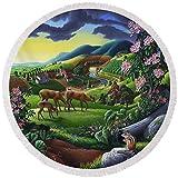 Pixels Round Beach Towel With Tassels featuring ''Deer Chipmunk Summer Appalachian Folk Art - Rural Country Farm Landscape - Americana '' by Walt Curlee