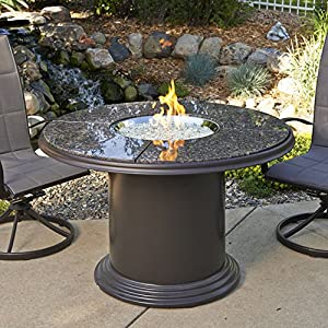 Outdoor Great Room 48 Inch Dining Table With British Granite Top, Lazy  Susan, Colonial Fiberglass Base And 20 Inch Round Stainless Steel Crystal  Fire Pit