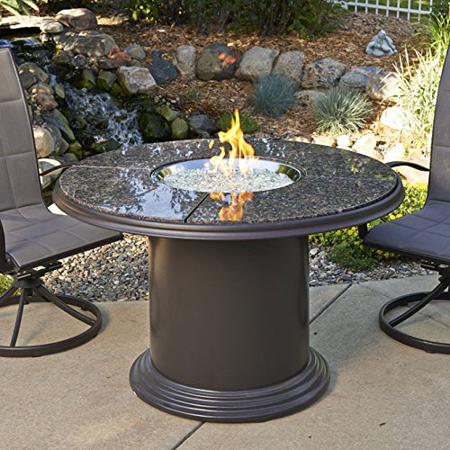 Outdoor Great Room 48-Inch Dining Table with British Granite Top, Lazy Susan, Colonial Fiberglass Base and 20-Inch Round Stainless Steel Crystal Fire Pit