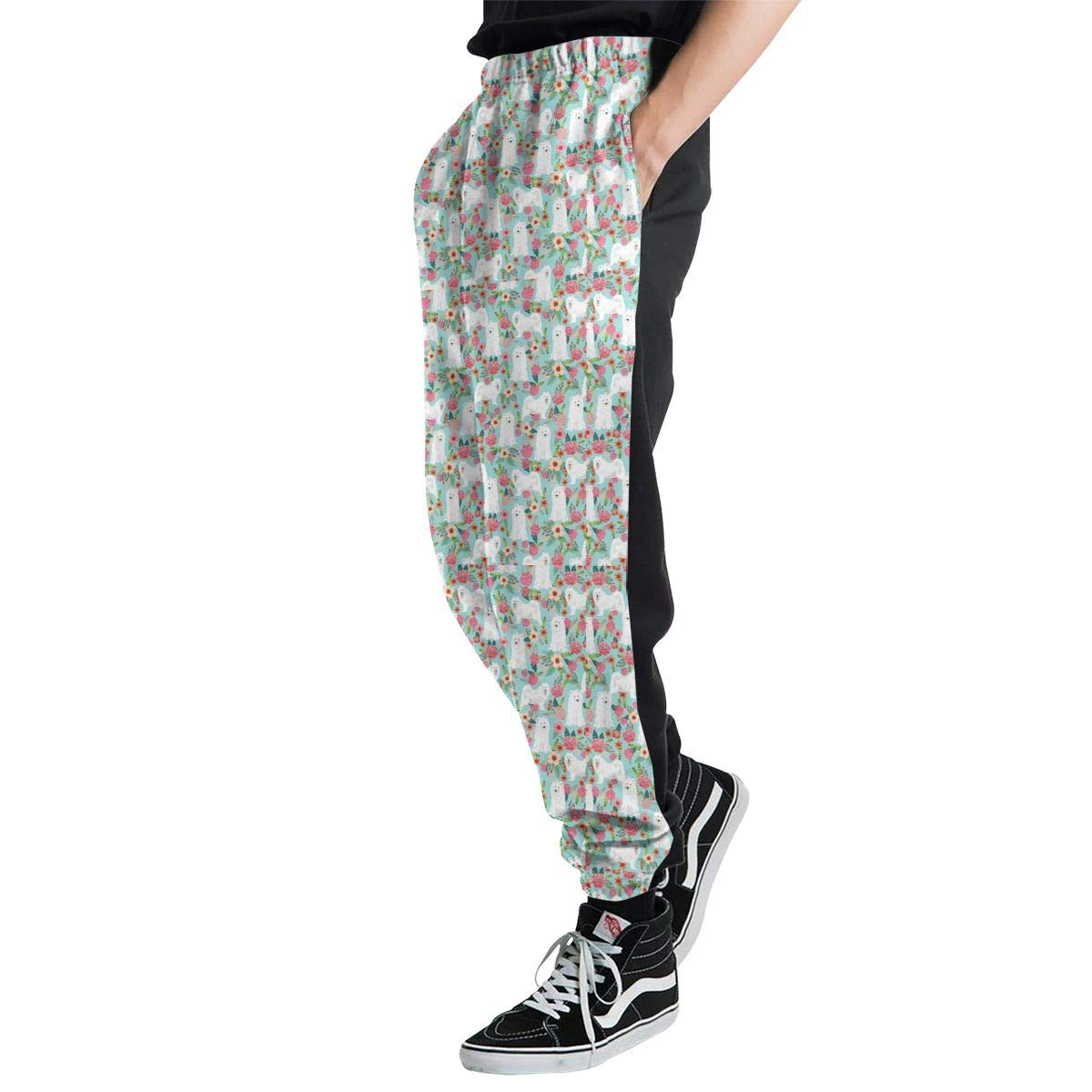 Men 3D Digital Print Joggers Sweatpants Samoyed Dogs Floral Dog Sweatpants with Size S-3XL