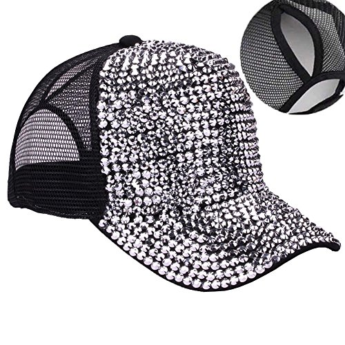 CRUOXIBB High Bun Ponytail Baseball Cap Hat Rhinestone Studded Bling Adjustable Mesh Trucker Ponycap (Black)