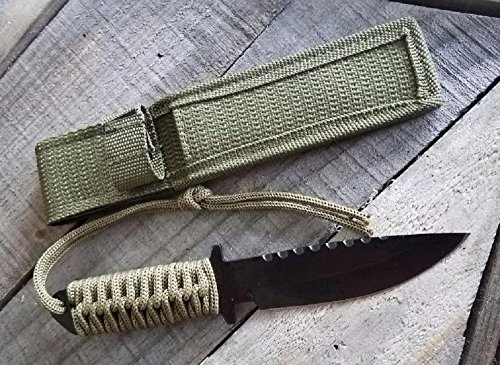 HANCARA Utility Combat Tactical Knife for Camping Survival Hunting and Outdoor Activities with Safety Nylon Handle Wrapped & Sheath, Sharp Strong and Durable Fixed Blade, Stylish Appearance
