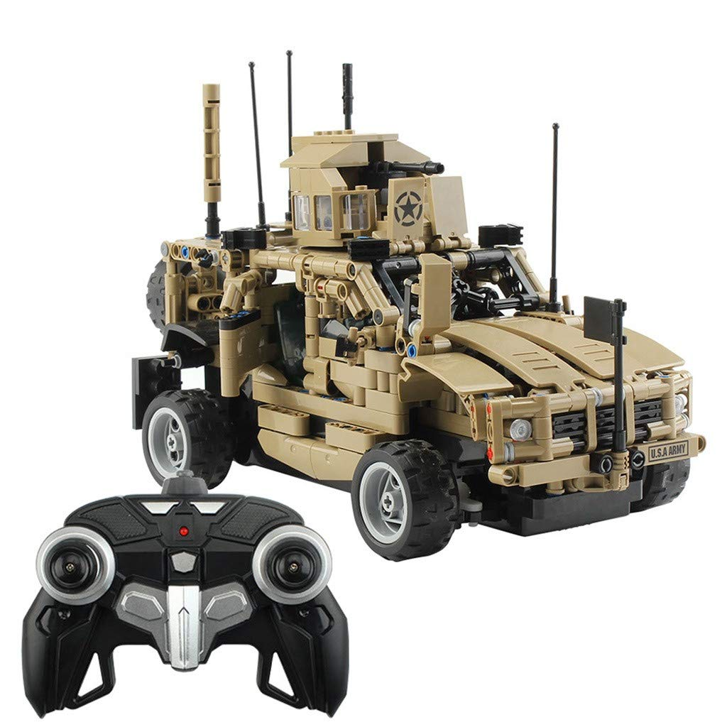 1:12 Military Armored Assault Car 653-Piece Kids RC Electronic Military Truck Building Block Brick Set Toy 2.4Ghz Remote Control Car for Kids