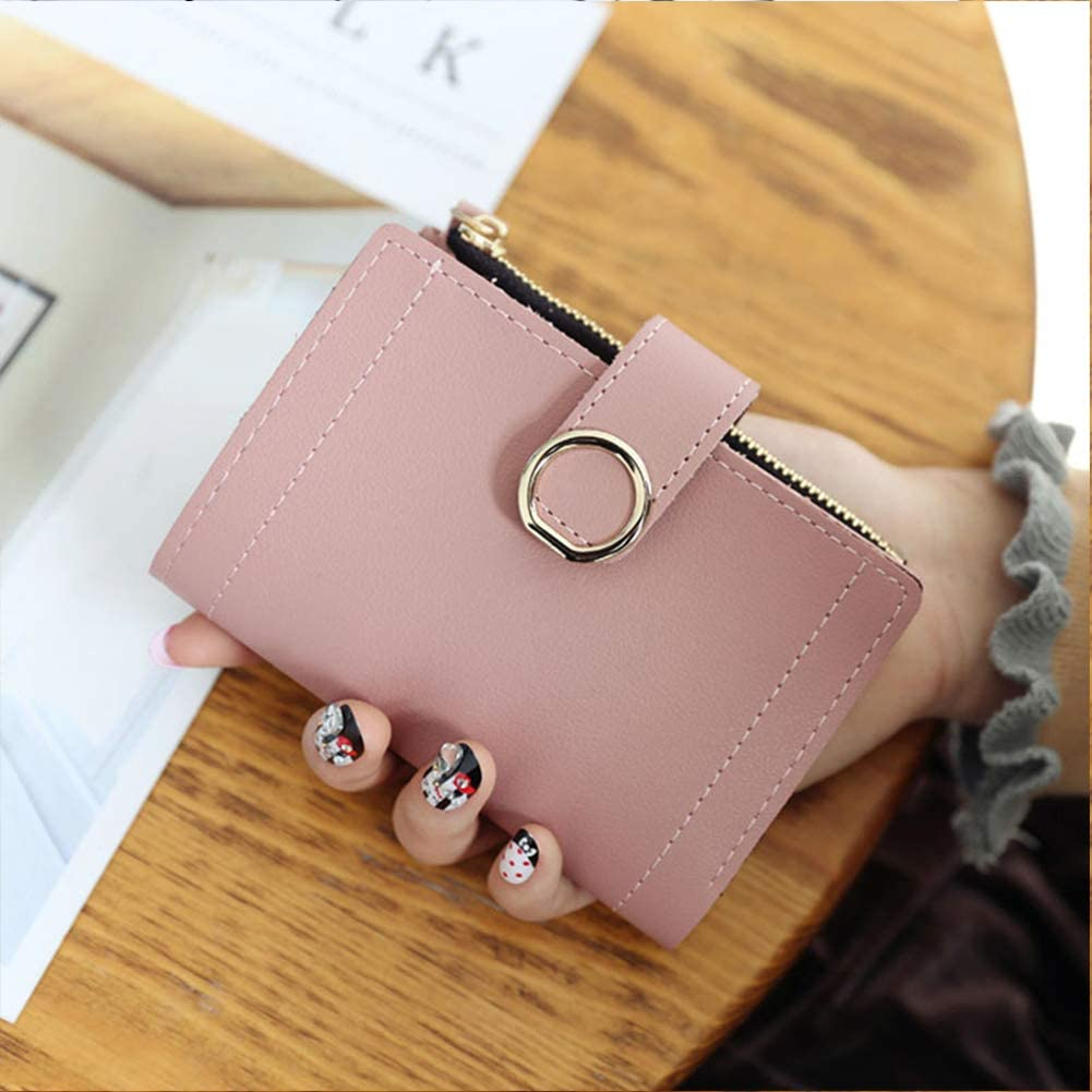 CYNDIE Ladies Elegant Solid Color Short PU Lovely Small Purse Deep Pink