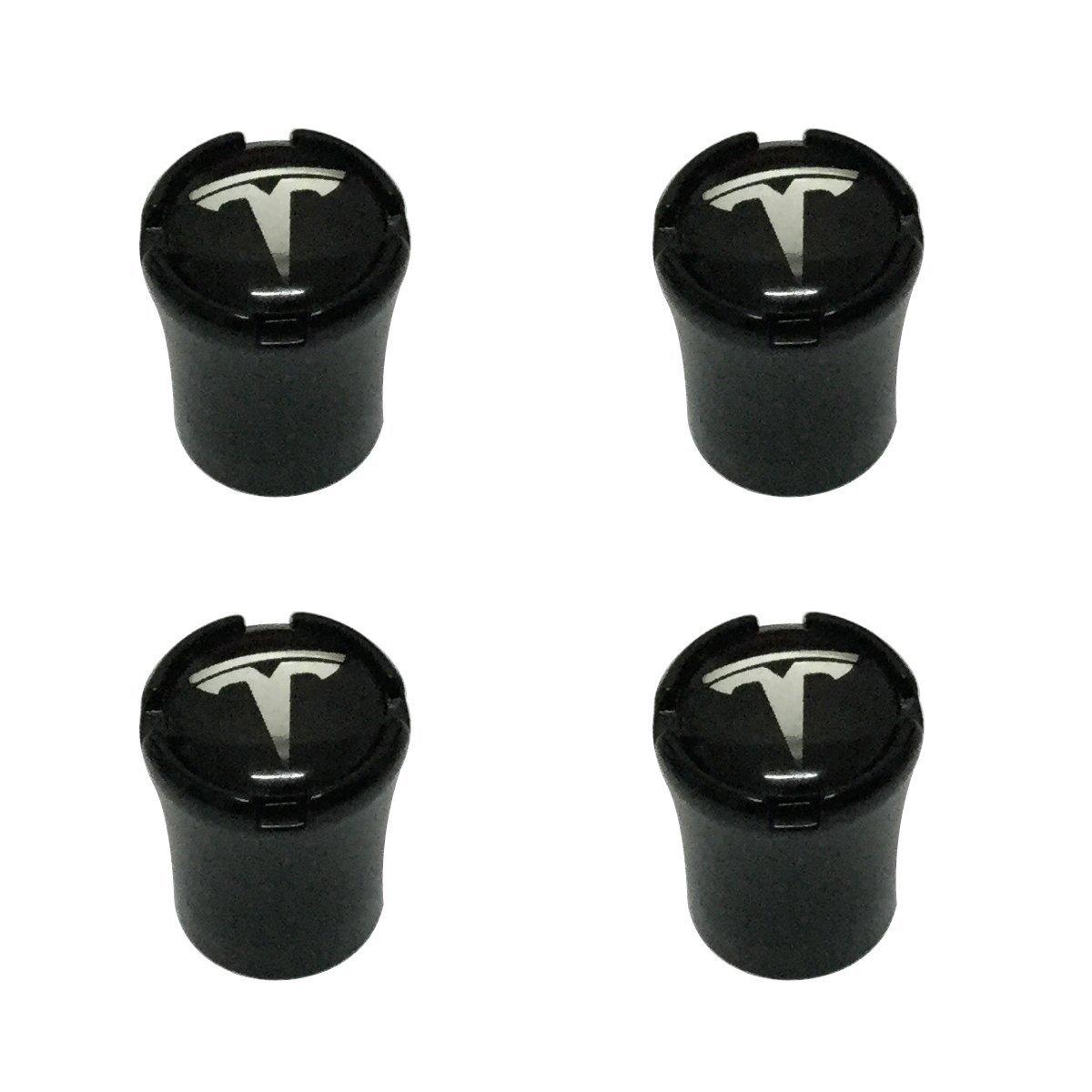 New USA Fast Ship 4pcs Black Color Car Dustproof Caps Tire Wheel Stem Air Valve Caps Cover Car Accessories Compatible Fit For Electric Sedan SUV Car Design (TESLA) Tampa