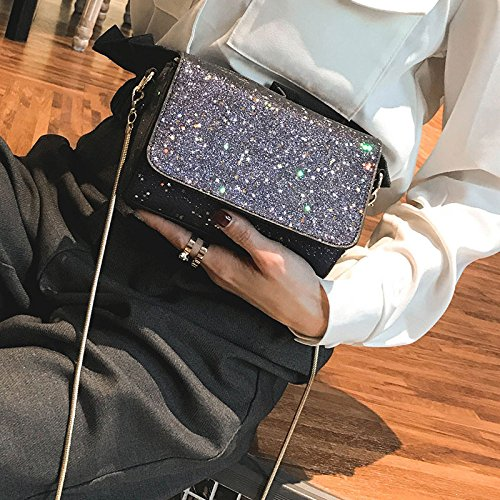 Bolsas Cuadrado Moda Daypack Trend Al Paquete Casual Wild Lentejuelas Ms Compras Black Hombro Libre Crossbody Pequeño Bag Aire w4gIqY