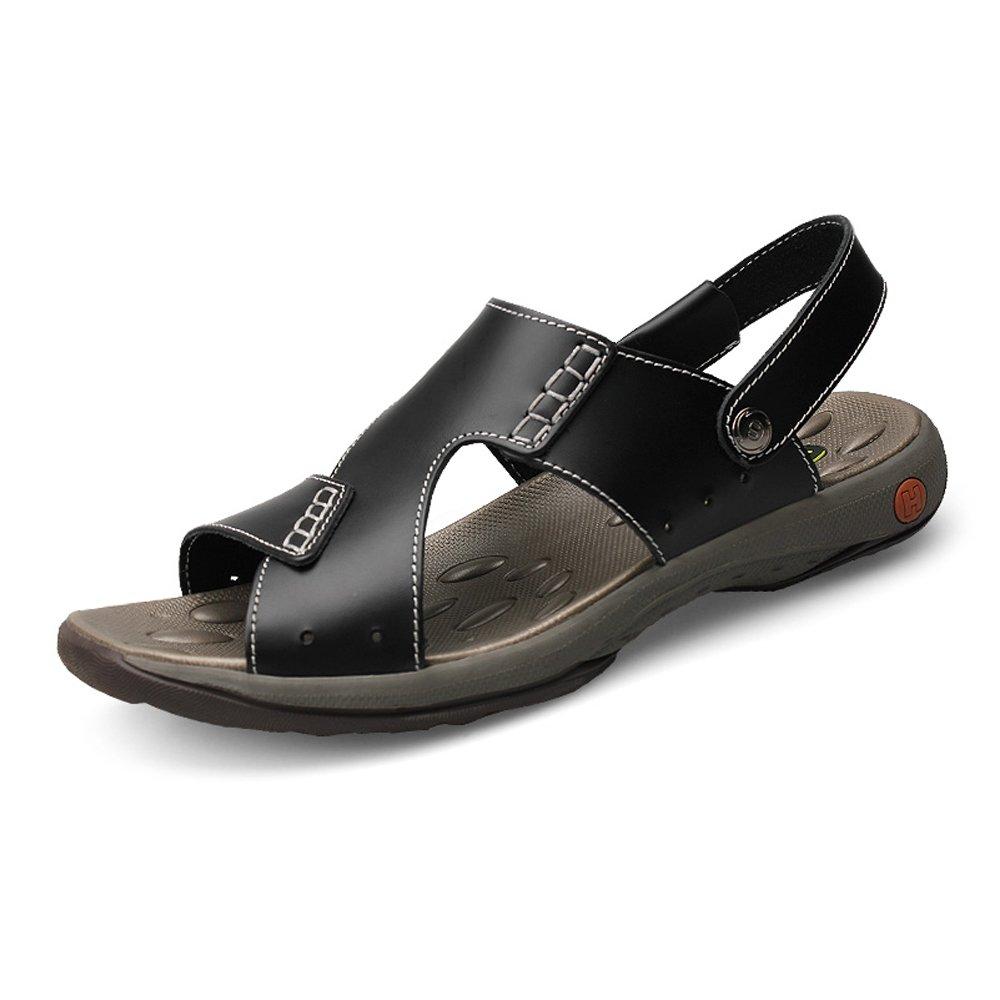 Zapatillas de Hombre de Cuero de Vaca Genuino Zapatillas de Playa Sandalias Casuales Zapatillas Planas de Suave Antideslizante sin Respaldo Ajustable Negro