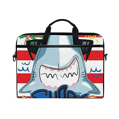 ALAZA Shark Summer Time Stripe Laptop Bag Shoulder Bag Briefcase Messenger Tablet Bag 15 15.6 Inch for Women Men