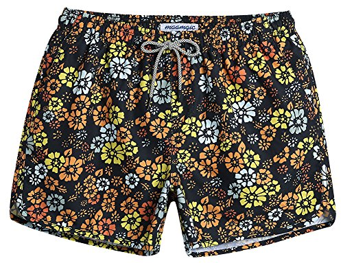 MaaMgic Mens Boys Short 80s 90s Vintage Swim Trunks with Mesh Lining Quick Dry Swimming Trunks Bathing ()