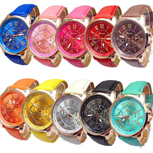 RBuy 10 Assorted Men Women Teens Leather Strap Analog Quartz Dress Watches -