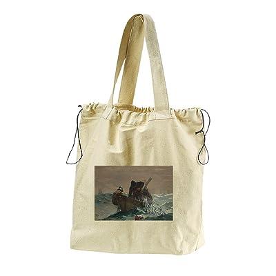 The Herring Net (Homer) Canvas Drawstring Beach Tote Bag