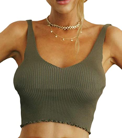 JWK Women s Pure Color Sexy Backless Strappy Top Stretchy Crop Tops Tank  Camis Army Green XS
