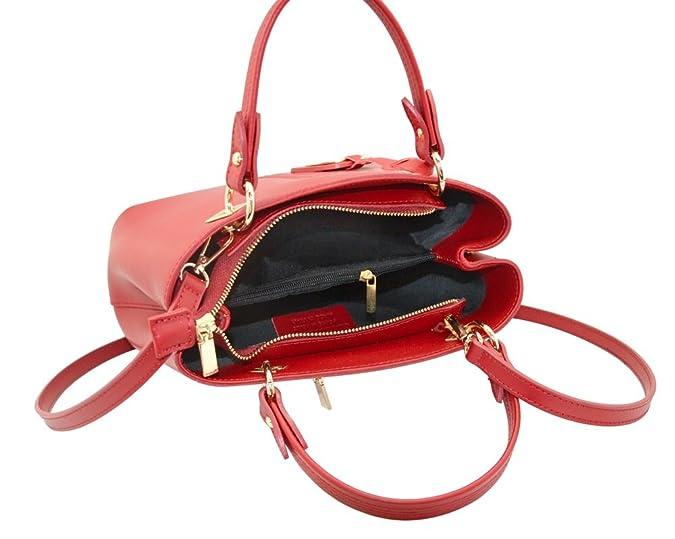 6399ea01ab3 VALENTINA Italian Tote handbag front stitching leather pendant smooth stiff  leather Made in Italy  Handbags  Amazon.com
