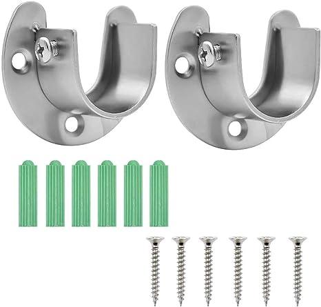 2pcs Stainless Steel Shower Curtain Rod Closet Rod Flange Bracket Holder Set